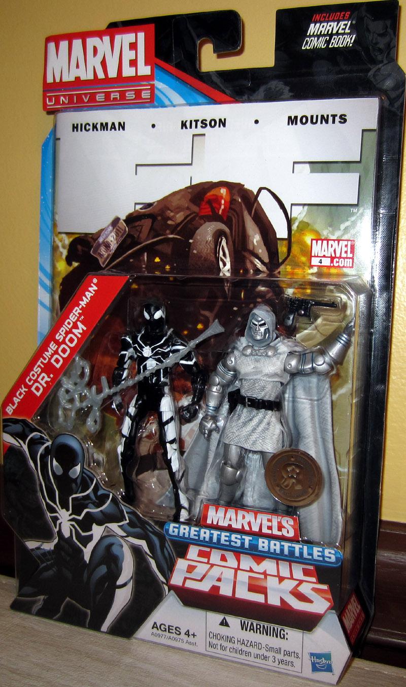 & Black Costume Spider-Man vs Dr Doom Marvel Universe figures