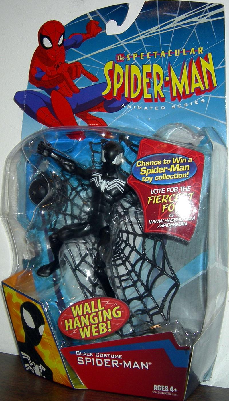 & Black Costume Spider-Man Wall Hanging Web Figure Spectacular Animated