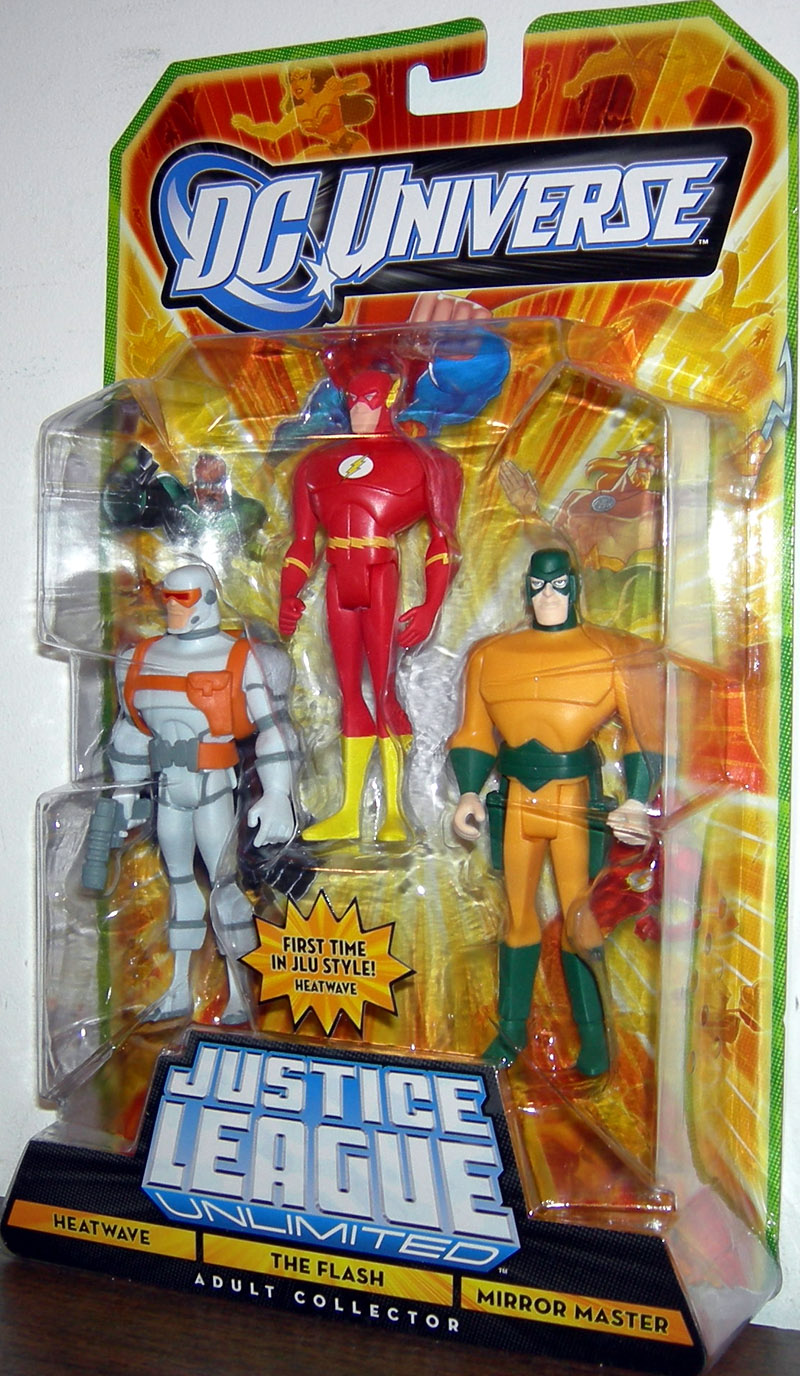 JUSTICE LEAGUE UNLIMITED HEATWAVE THE FLASH MIRROR MASTER 3 PACK ACTION FIGURES
