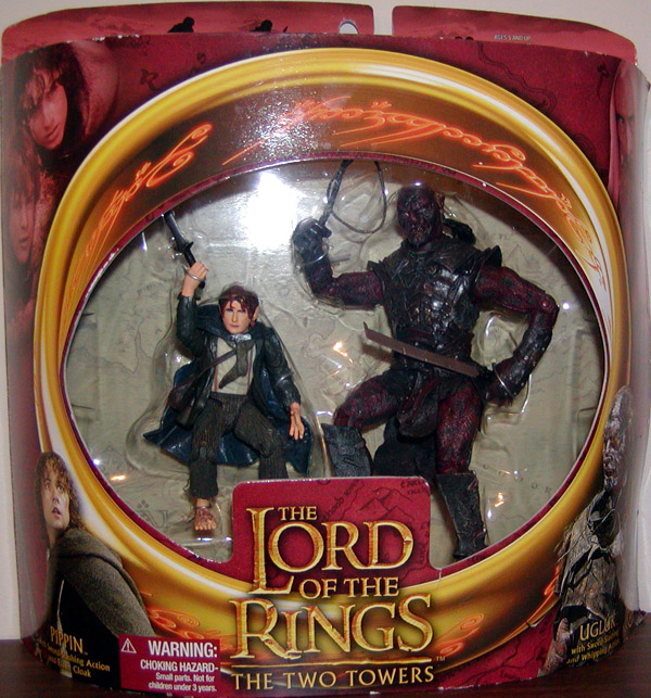 Pippin vs Ugluk Figures Lord Ring Two Towers Toy Biz