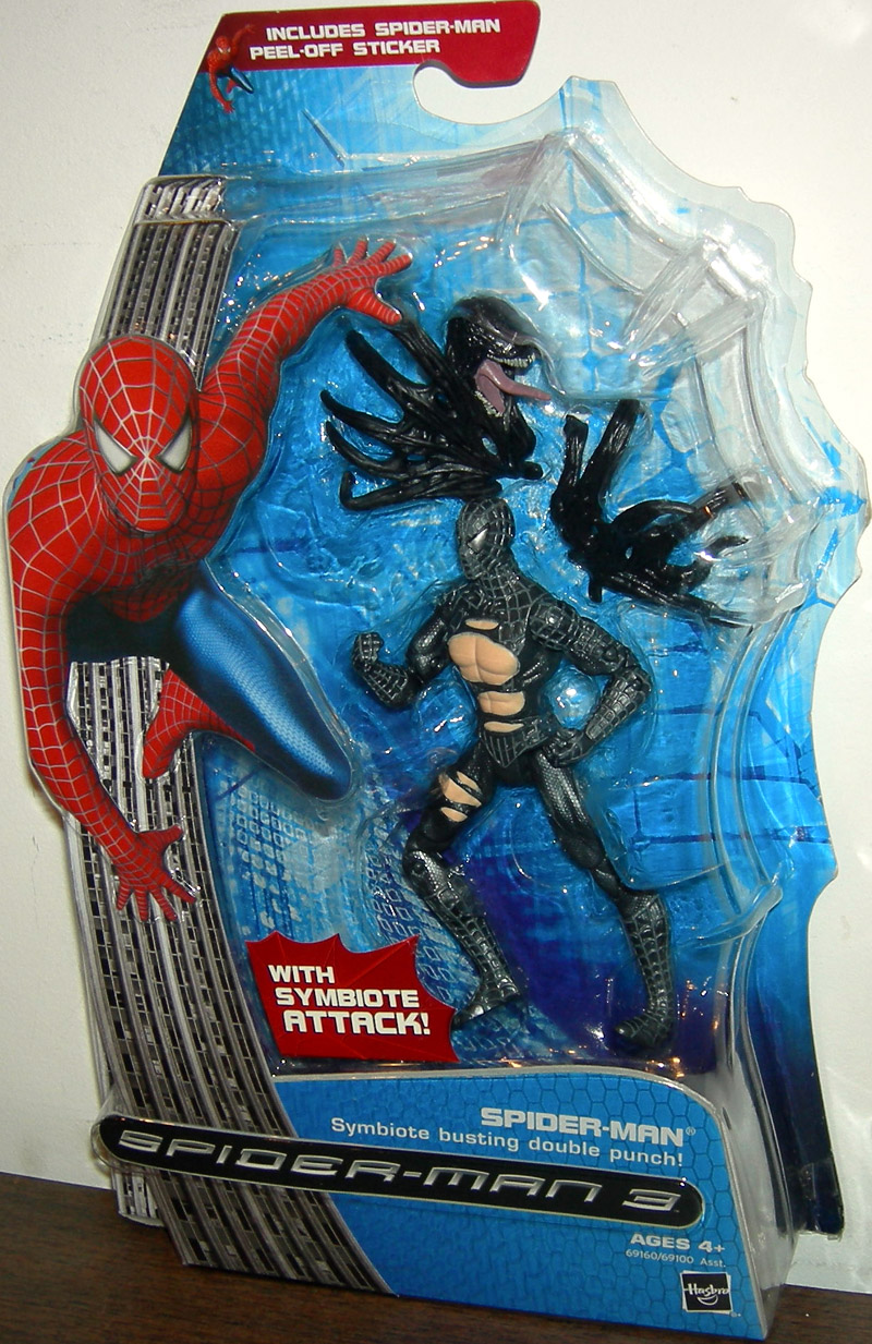 spiderman symbiote busting double punch action figure