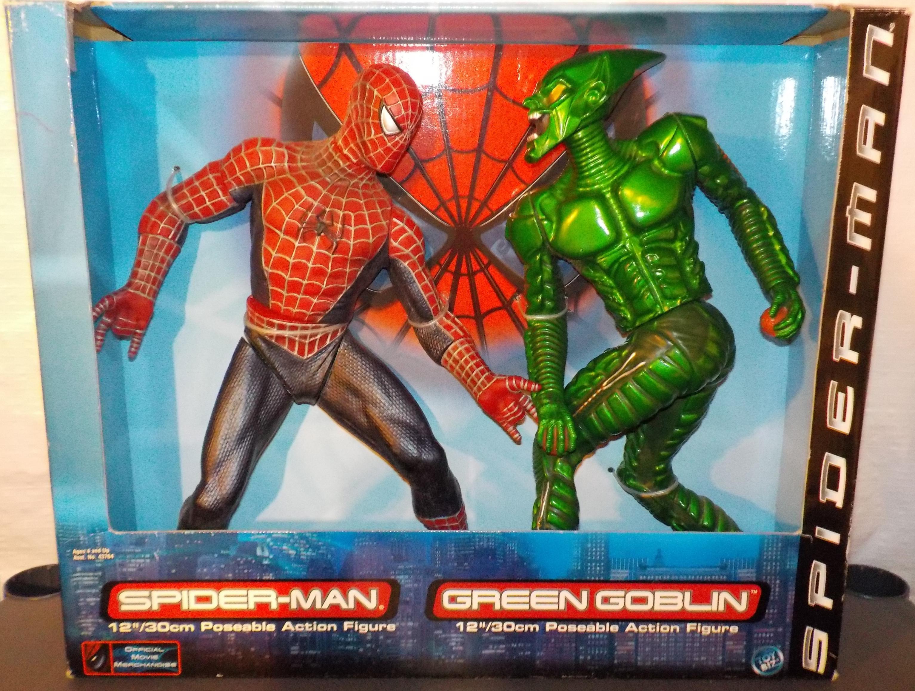 12 inch spider man vs green goblin action figures toy biz
