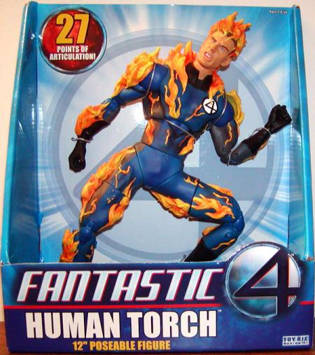Human Torch 12 Inch Fantastic 4 Four Movie Flaming On Poseable Figure