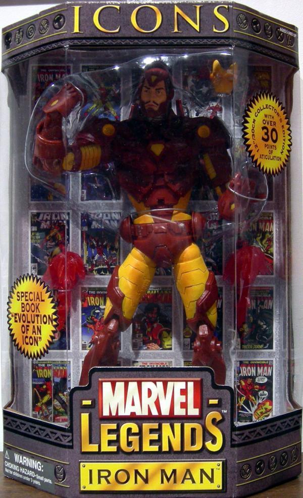 12 inch Iron Man, Marvel Legends Icons, yellow armor