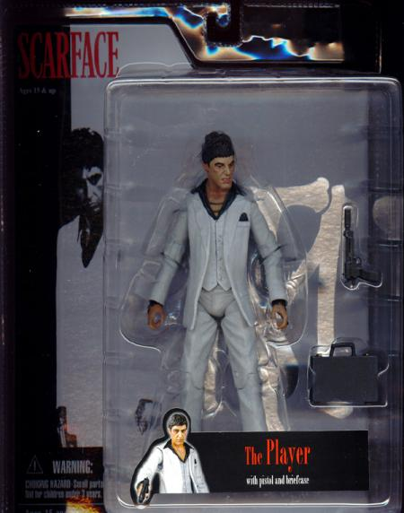 7 inch Scarface, Player, white suit, angry