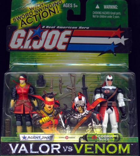Agent Jinx vs Cobra Slice Action Figures GI Joe Valor vs Venom