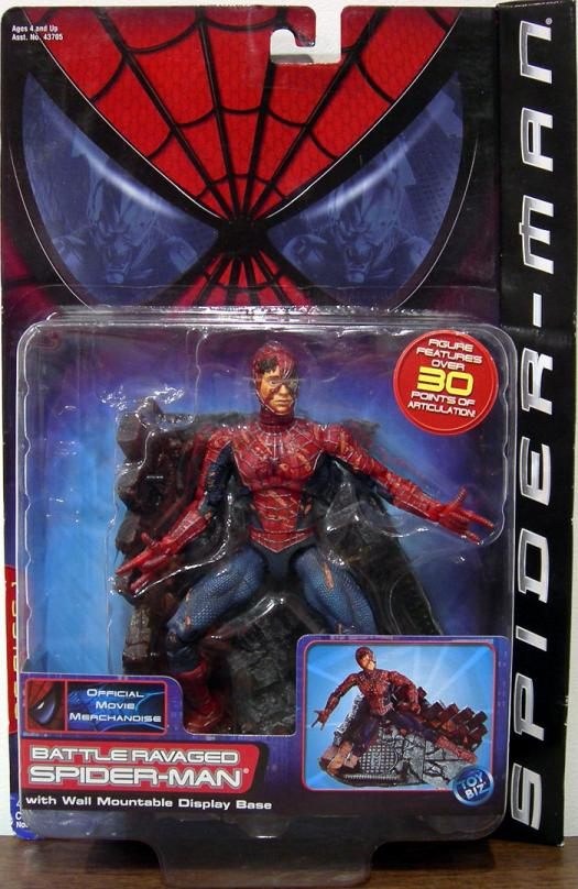 Battle Ravaged Spider-Man Action Figure Movie Wall Mountable Display Base