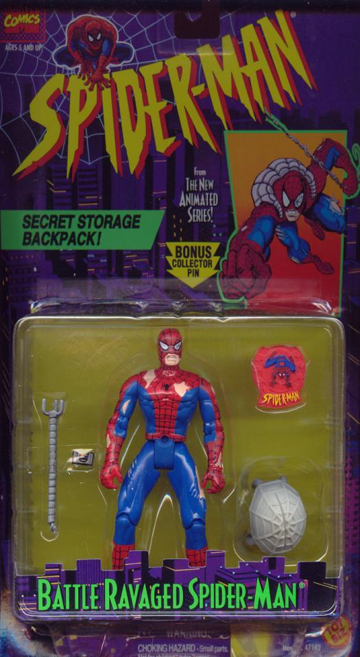 Battle Ravaged Spider-Man Figure Animated Secret Storage Backpack