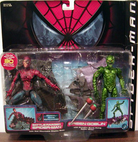 Battle Ravaged Spider-Man vs Green Goblin Action Figures