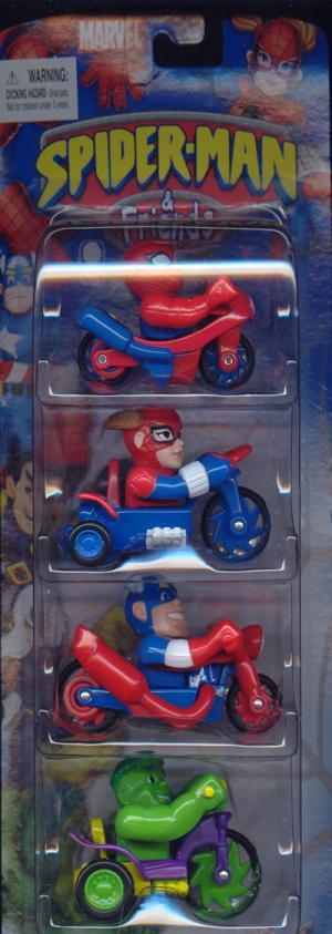 Bikes Trikes 4-Pack Spider-Man, Spider-Girl, Captain America Hulk