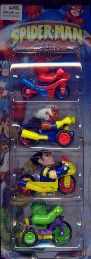 Bikes Trikes 4-Pack Spider-Man, Storm, Wolverine Hulk