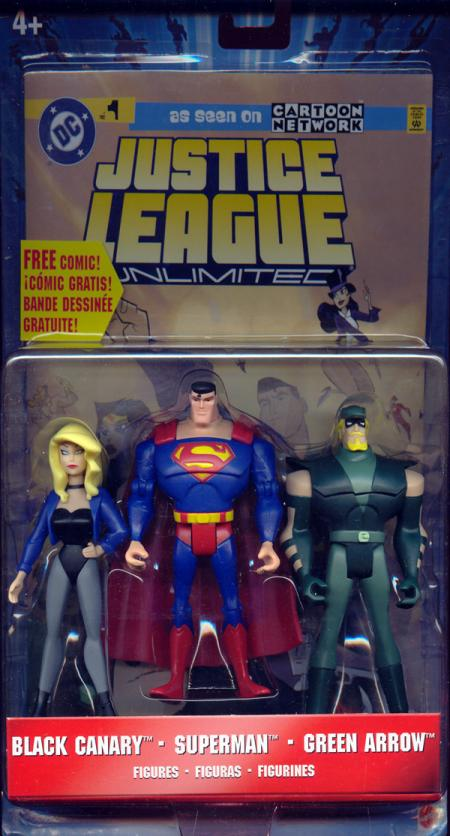 Black Canary, Superman Green Arrow 3-Pack Justice League Unlimited