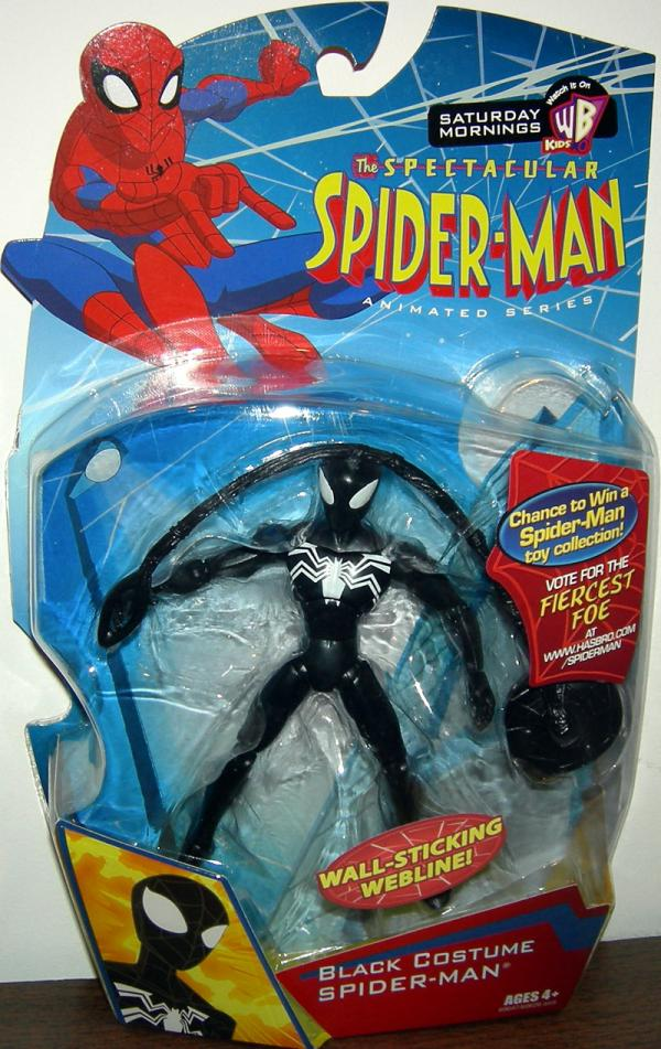 Black Costume Spiderman wall sticking webline Spectacular Animated action figure