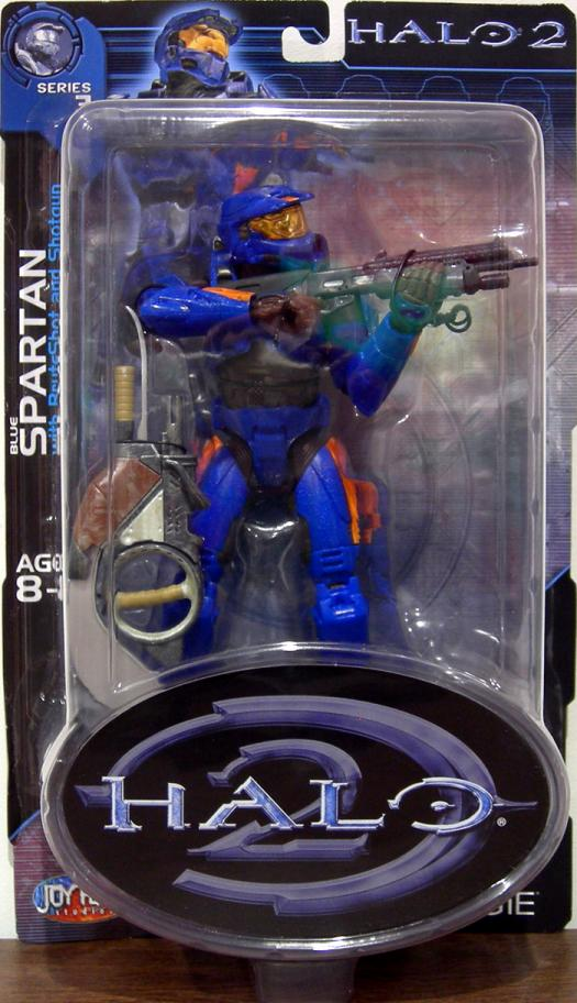 Blue Spartan Halo 2, orange stripes Marathon emblem