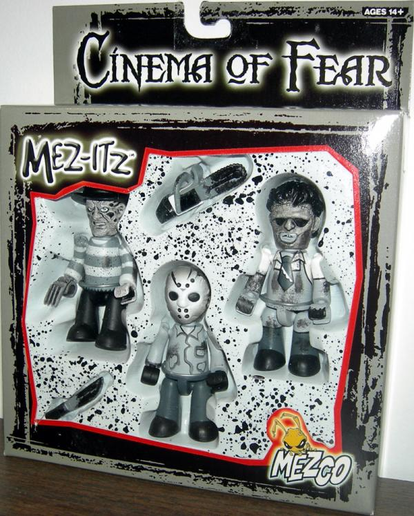 Cinema Fear Figures 3-Pack Mez-Itz Black White Mezco