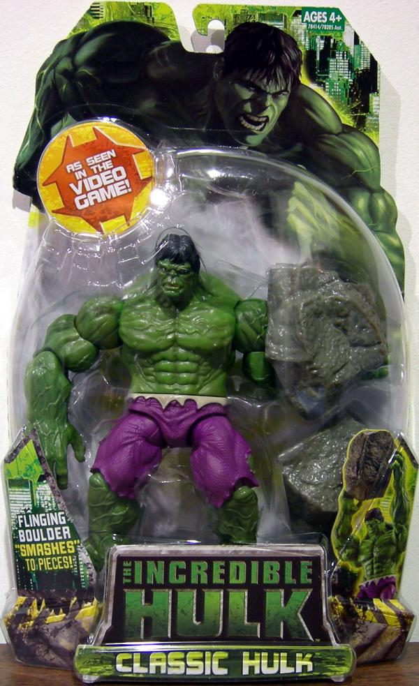 Classic Hulk Figure Seen Video Game Flinging Boulder Smashes Pieces