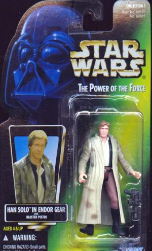 Han Solo in Endor Gear Action Figure Green Card Brown Pants Star Wars
