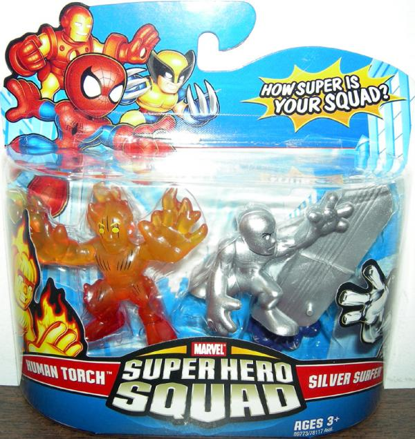 Human Torch Silver Surfer Super Hero Squad action figures