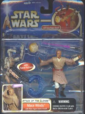 Mace Windu deluxe red Battle Droid pictured