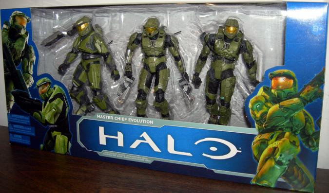 Master Chief Evolution Action Figures Halo Universe 3-Pack