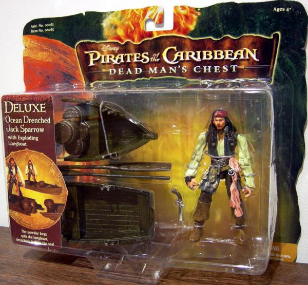 Ocean Drenched Jack Sparrow exploding longboat 3 1-2 inch action figure
