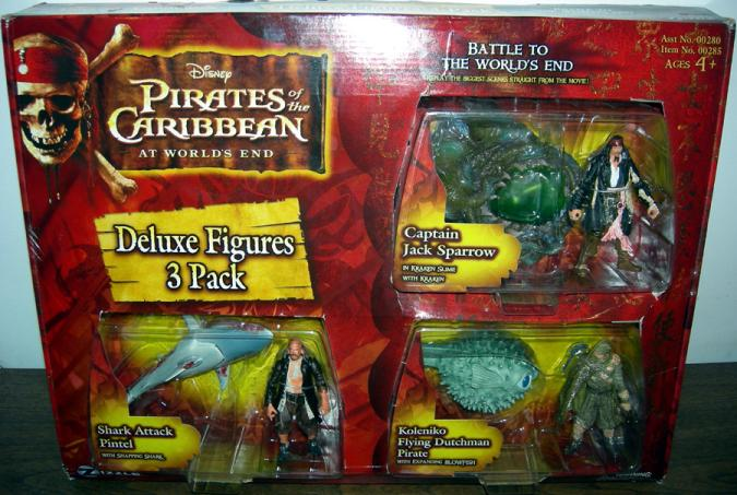 Pirates Caribbean Deluxe Figures 3-Pack Jack Sparrow Koleniko Pintel