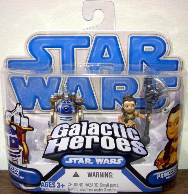 R2-D2 and Princess Leia as Jabba's Slave Action Figures Galactic Heroes
