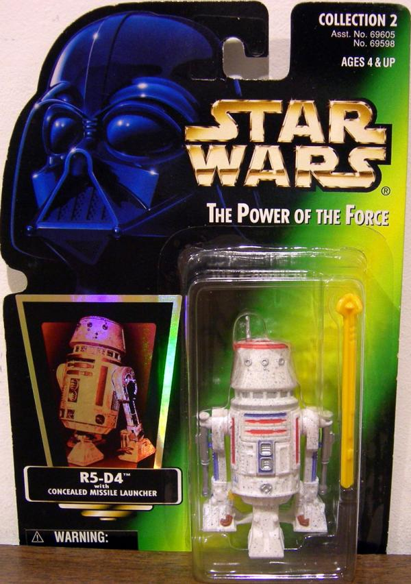 R5-D4 Green Card Hooked Latch Star Wars action figure