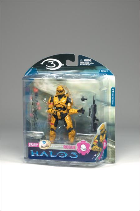 Spartan Soldier Rogue Halo Series 3 Gold Suncoast FYE action figure