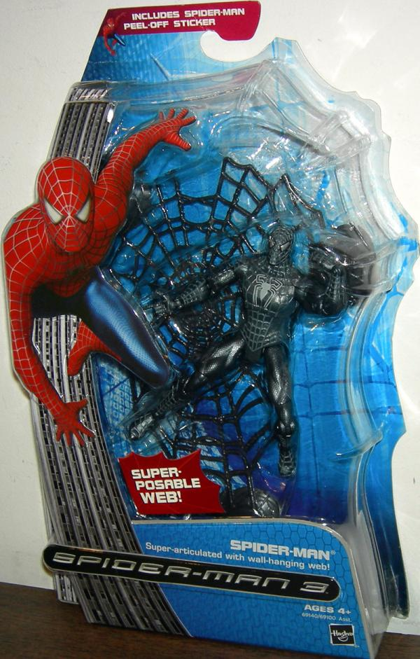 Black Suited Spider-Man 3 Action Figure Super-Articulated Wall-Hanging Web
