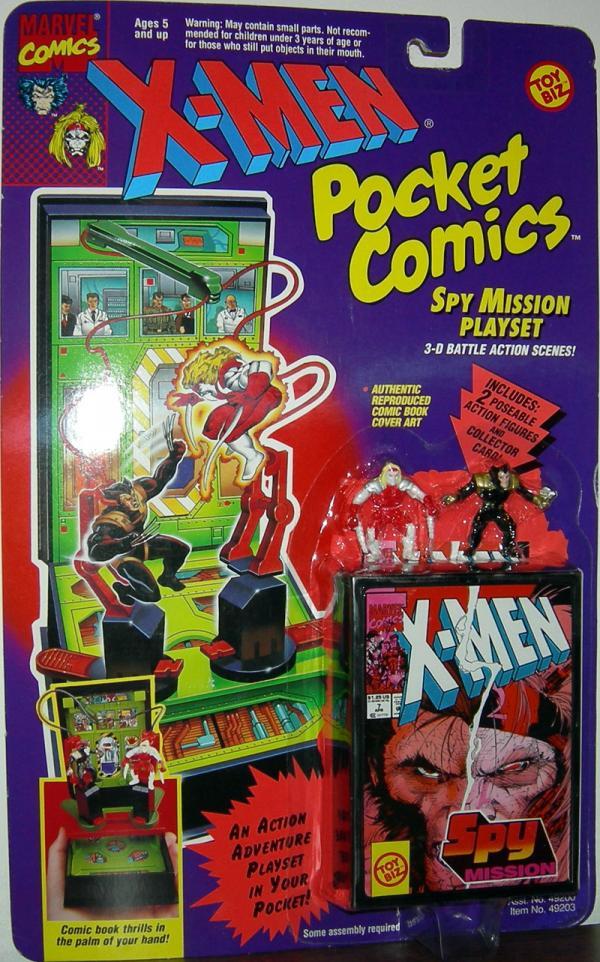 Spy Mission Playset Pocket Comics X-Men action figures