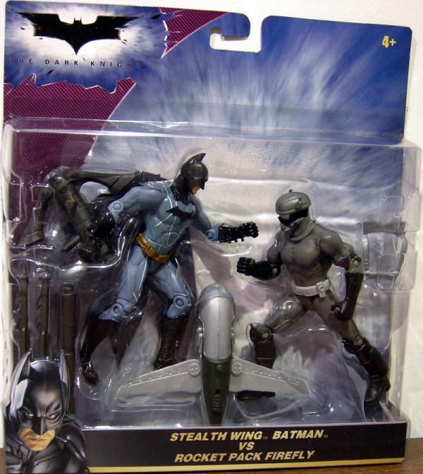 Stealth Wing Batman vs Rocket Pack Firefly Dark Knight action figures