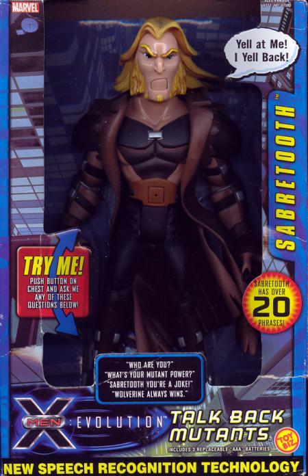 9 Inch Tall Talk Back Mutants Sabretooth X-Men Evolution Action Figure