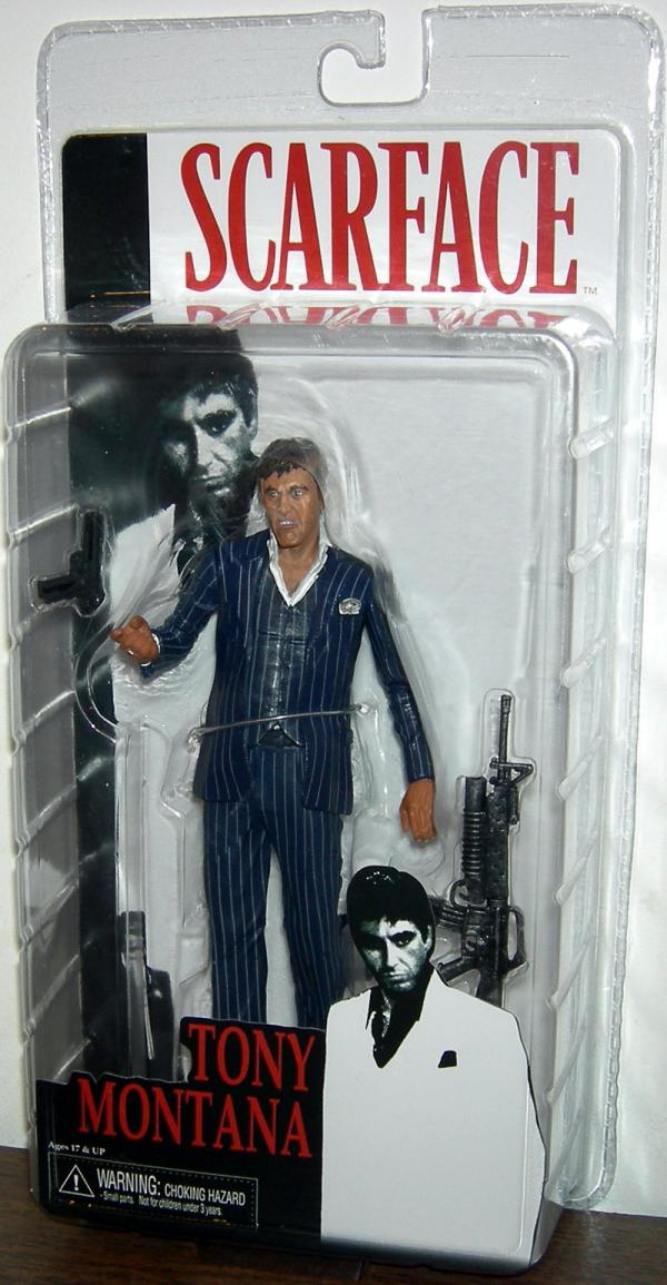 Tony Montana Figure Blue Suit Scarface Neca Reel Toys