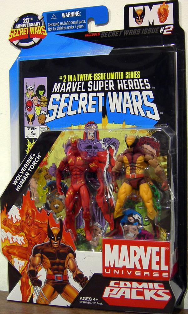 Wolverine Human Torch Marvel Universe Comic Packs 2 action figures