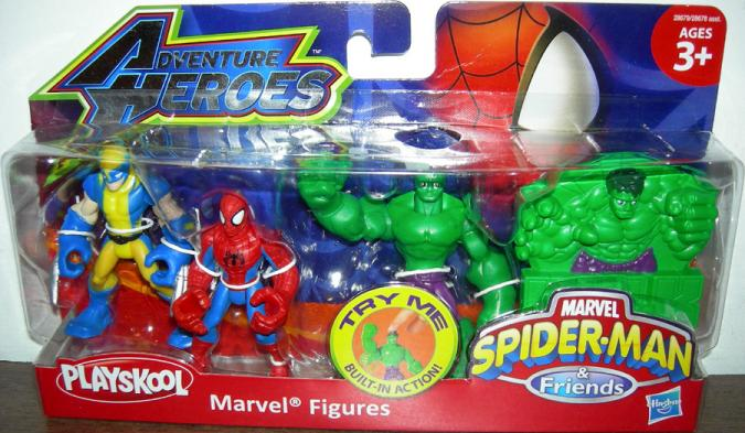 Wolverine Spider-Man Hulk Playskool Adventure Heroes action figures