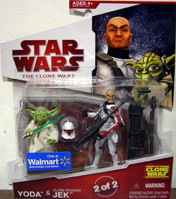 Yoda and Clone Trooper Jek Action Figures Clone Wars