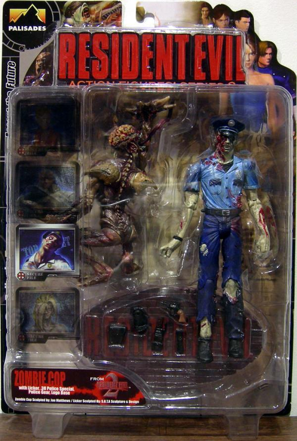 Zombie Cop in Blue Uniform with Licker Action Figures Resident Evil 2