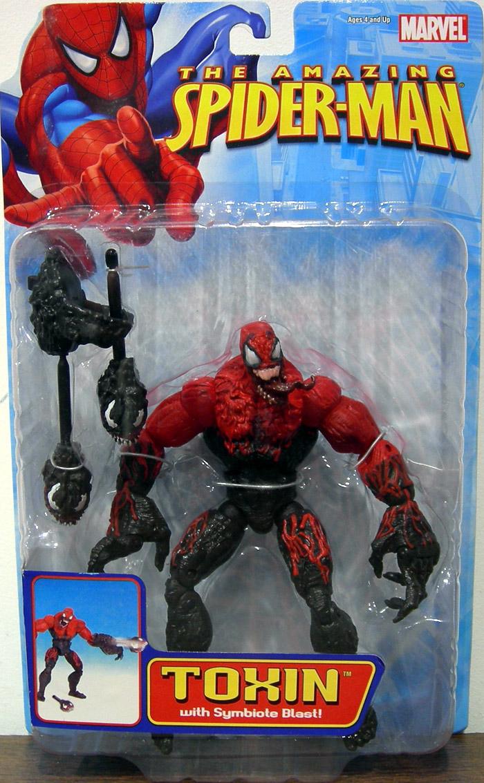 toxin action figure symbiote blast amazing spiderman toy biz