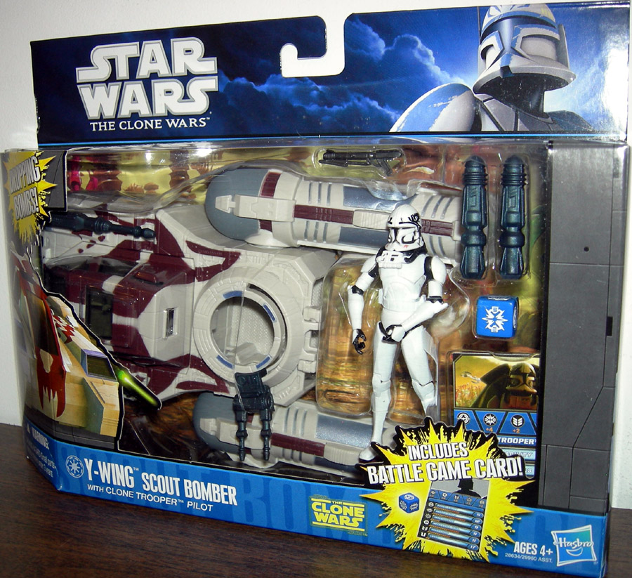 Star Wars The Clone Wars Toys : Y wing scout bomber with clone trooper pilot action figure